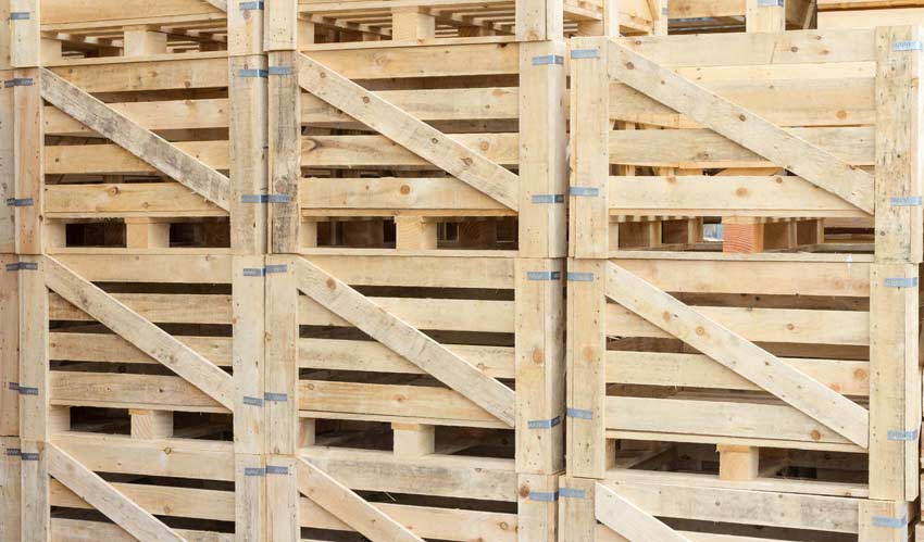 Wooden crates and packing cases